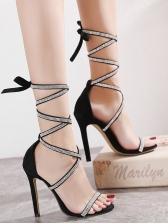 Roman Style Rhinestone Lace Up Sandals