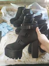 Waterproof Chunky Heel Platform Winter Boots