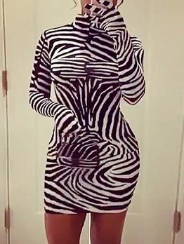 Turtleneck Long Sleeve Zebra Striped Women Dress