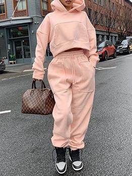 Pocket Long Sleeve Hoodies Women Set For Winter