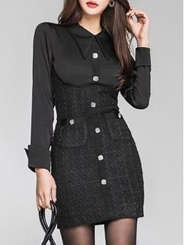 Elegant Single-Breasted Patchwork Long Sleeve Bodycon Dress