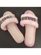 Rhinestone Letter Faux Fur Fluffy Slippers