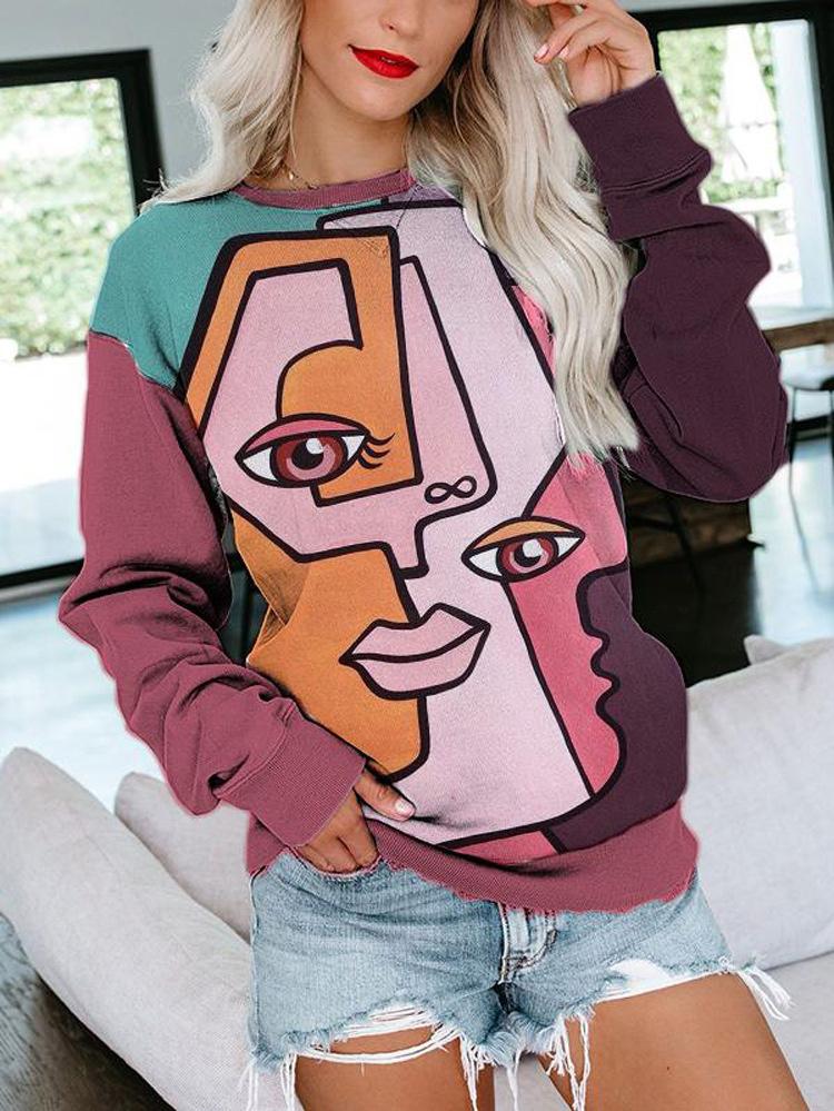 Stylish Contrast Printing Long Sleeve Sweatshirt