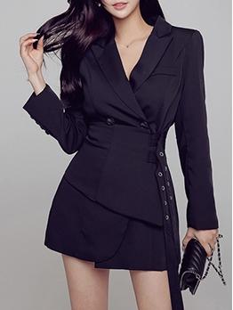Slim Fit Lapel Belted Long Sleeve Blazer Dress