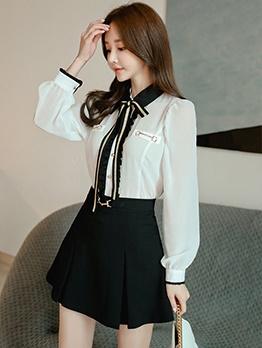 Stylish Bow Neck Chiffon Two Piece Skirt Set
