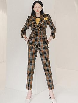Elegant Plaid Long Sleeve Women Formal Suit