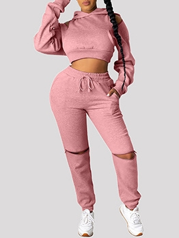 Sporty Solid Hooded Ripped Plus Size Activewear