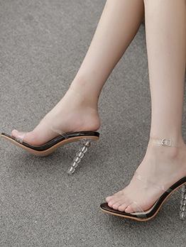 Stylish Round Toe PVC Heeled Ladies Sandals