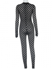 Sexy Hollow Out Long Sleeve Skinny Jumpsuit