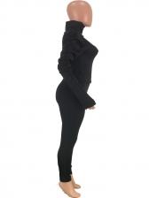Puff Sleeve Turtleneck Crop Top And Pants Set