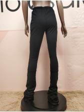 Summer Casual Wear Gray Drawstring Thin Stacked Pants