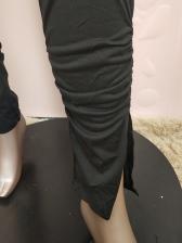 Low V Neck Solid Color 2 Piece Pants Set