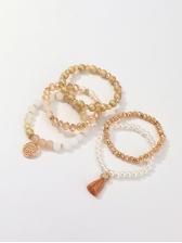 National Style Faux-Pearl Five Pieces Bracelet Set