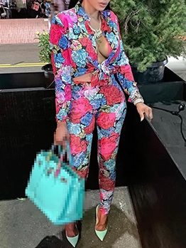 Rose Flower Print Leisure Tops And Pants Set