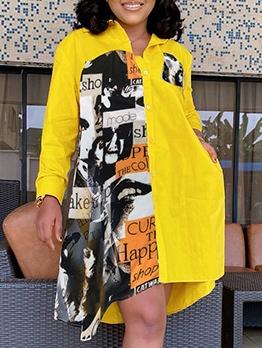 Vintage Print Loose Long Sleeve Shirt Dress