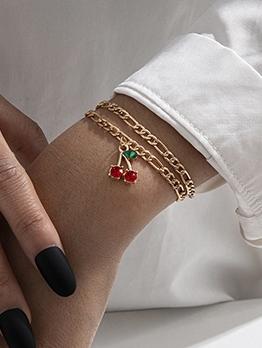 New Style Rhinestone Cherry Bracelet Set