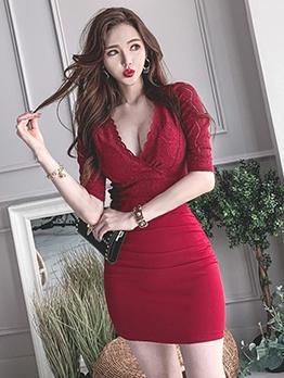 Lace Patchwork v Neck Short Sleeve Bodycon Dress
