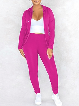 Pure Color Hooded Zipped Up Womens Tracksuit Set