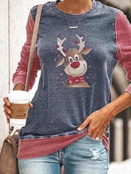 Christmas Printed Contrast Color Crewneck Sweatshirt