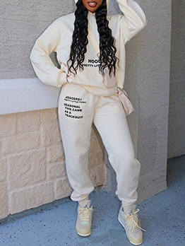 Letter Print Hoodie Two Piece Pant Set