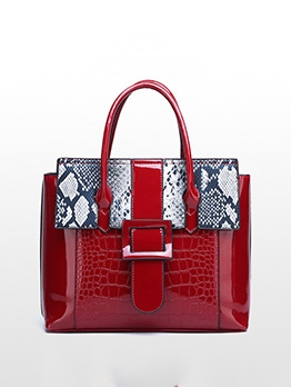 Contrast Color Animal Printed Pu Large Handbags
