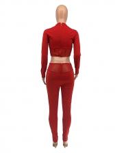 Gauze Patchwork Long Sleeve Two Piece Pants Set