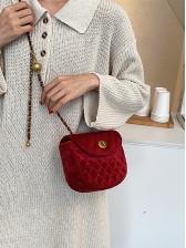 Vintage Style Rhombic Suede Semicircular Shoulder Bags