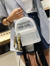Chic Transparent Letter Print Mini Backpack