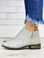 Vintage Embroidery Women Heeled Ankle Boots