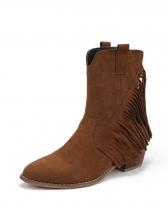 Vintage Tassels Solid Color Ankle Boots