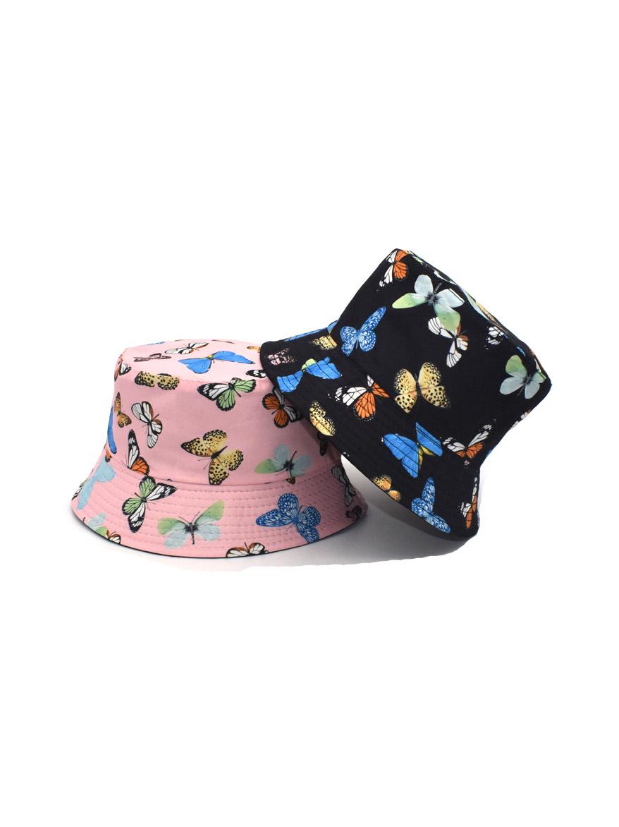 Butterfly Printed Reversible Summer Bucket Cap