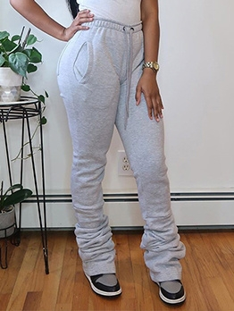 Pure Color High Rise Stacked Pants