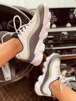 Sporty Wear Contrast Color Sneakers For Women