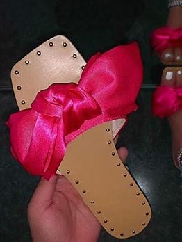 Bow Knot Square Toe Female Slipper Shoes
