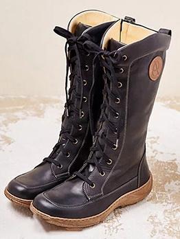 Fashion Mid-Calf Combat Cowboy Boots