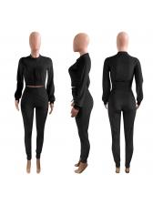 Solid Zipper Up Fitted Long Sleeve Velvet Tracksuit