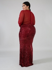 Sequined Long Sleeve Plus Size Evening Maxi Dresses