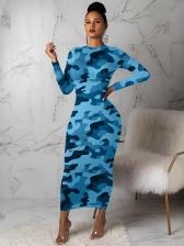 O Neck Camouflage Long Sleeve Maxi Dress