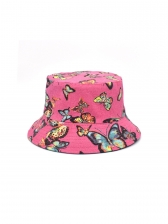 Chic Butterfly Print Outdoor Travel Fisherman Cap
