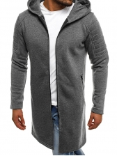 Casual Solid Hoodie Long Coat Men