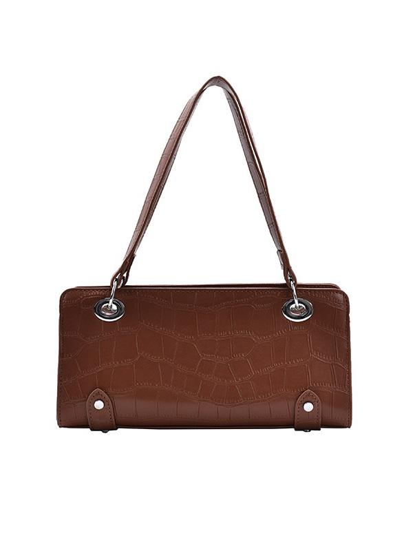 Vintage Solid Color Alligator Pattern PU Shoulder Bags