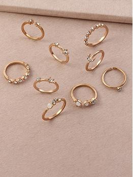Rhinestone Women Ring Nine Pieces Set