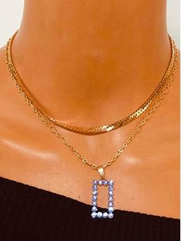 Purple Square Shape Rhinestone Layered Necklace
