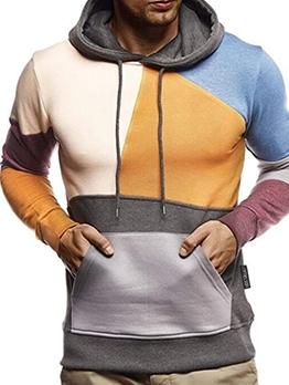 Leisure Color Block Long Sleeve Cool Hoodies