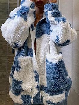 Tie Dye Zipper Up Lambswool Winter Coats