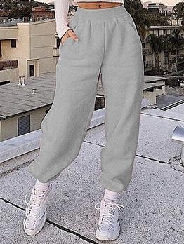 Leisure Wear Pure Color Sweatpants Women