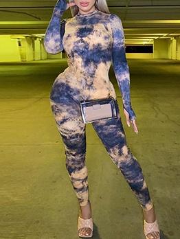 Fashion Tie Dye Long Sleeve Bodycon Jumpsuit