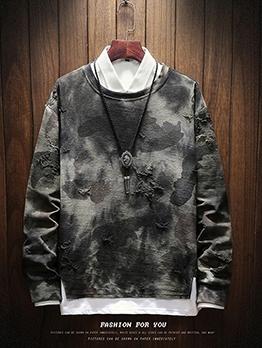Hip-Pop Crew Neck Camouflage Mens Sweatshirts