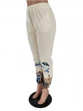 Exquisite Print Drawstring Jogger Pants