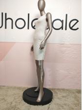 Solid Side Drawstring Short Sleeveless Dress
